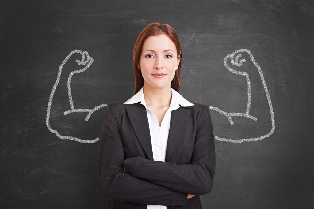 Successful self confident businesswoman with muscles drawn with
