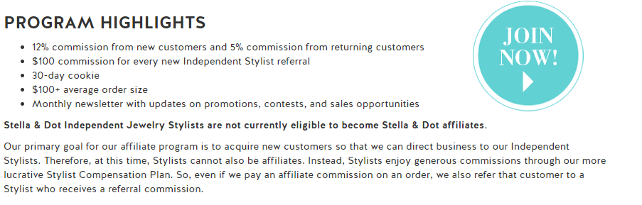 Stella and Dot Program Highlights