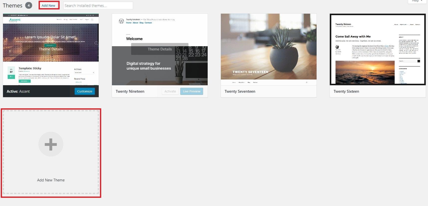 Add New Theme to WordPress