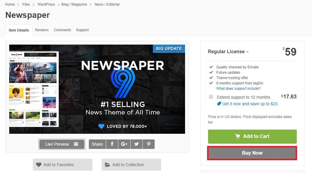 Buy Newspaper Theme from Themeforest