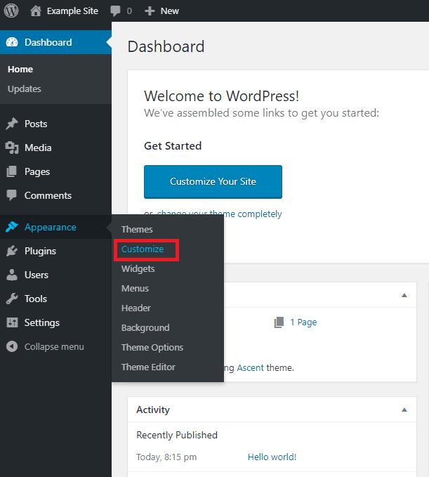 Customize in WordPress dashboard