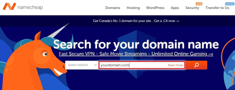 Namecheap Search for a Domain