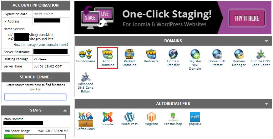 Siteground Addon Domains