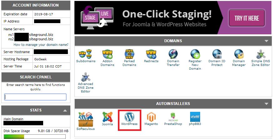 Siteground WordPress Autoinstaller