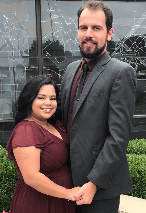 Photo of myself and my wife at my cousin's wedding