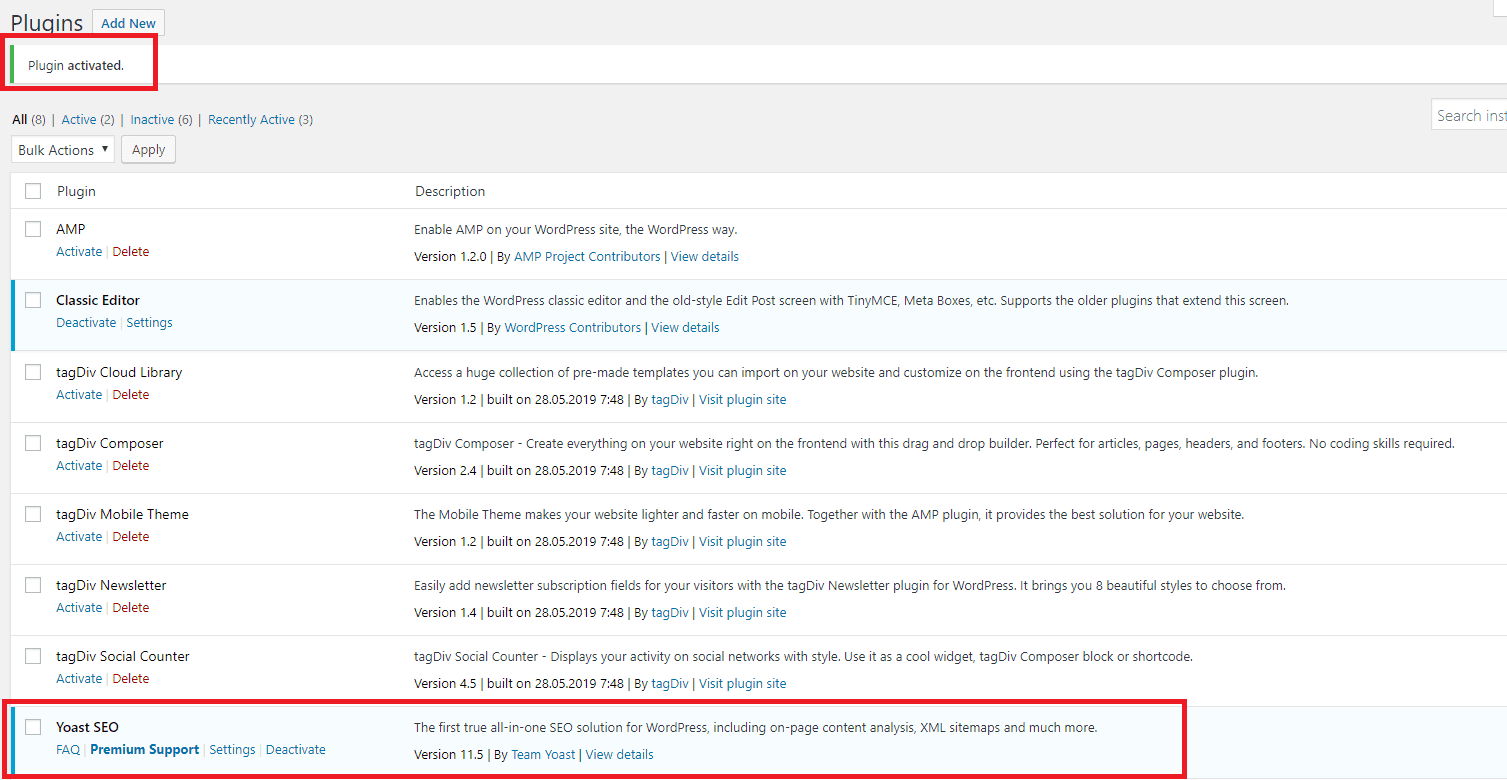 Yoast Activated Plugin shown on Plugins page